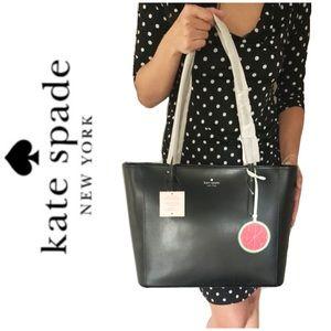 NWT Kate Spade genuine leather top zip tote black